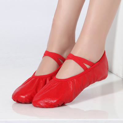 Leather Elastic Band Lace-Up Flat Dance Shoes | Bridelily - 5 / 6.5 - ballet dance shoes