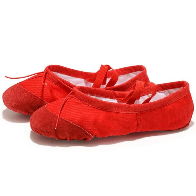 Leather Slippers Bowknot Soft Ballet Dance Shoes | Bridelily - Red / 4 - ballet dance shoes