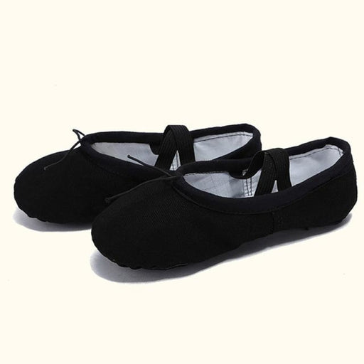 Leather Slippers Bowknot Soft Ballet Dance Shoes | Bridelily - Black / 4 - ballet dance shoes