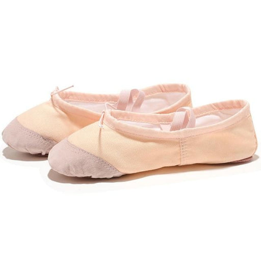 Leather Slippers Bowknot Soft Ballet Dance Shoes | Bridelily - FuPink / 4 - ballet dance shoes