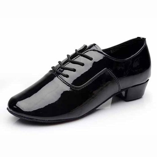 Leather Square Heeled Latin Ballroom Dance Shoes | Bridelily - black PU / 14.5 - jazz dance shoes