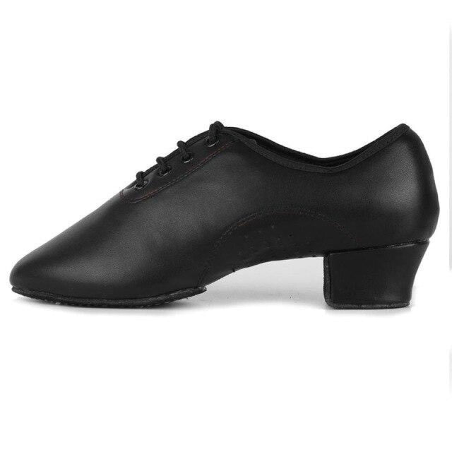 Leather Square Heeled Tango Ballroom Dance Shoes | Bridelily - Black / 6 - jazz dance shoes