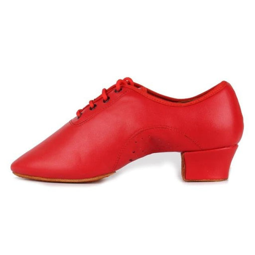 Leather Square Heeled Tango Ballroom Dance Shoes | Bridelily - Red / 6 - jazz dance shoes