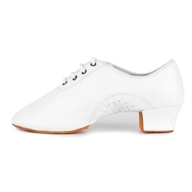 Leather Square Heeled Tango Ballroom Dance Shoes | Bridelily - White / 6 - jazz dance shoes