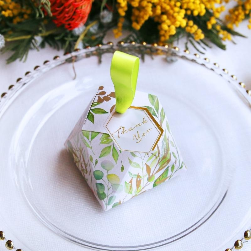 Leaves Diamond Shape With Cards Favor Holders | Bridelily - 50pcs / 80x80x60mm - favor holders