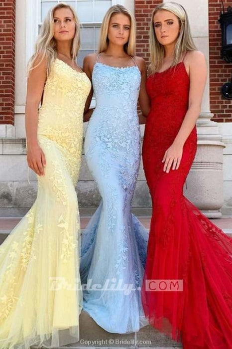 Light Blue Appliques Spaghetti Straps Lace-Up Mermaid Prom Dress - Yellow - Prom Dresses