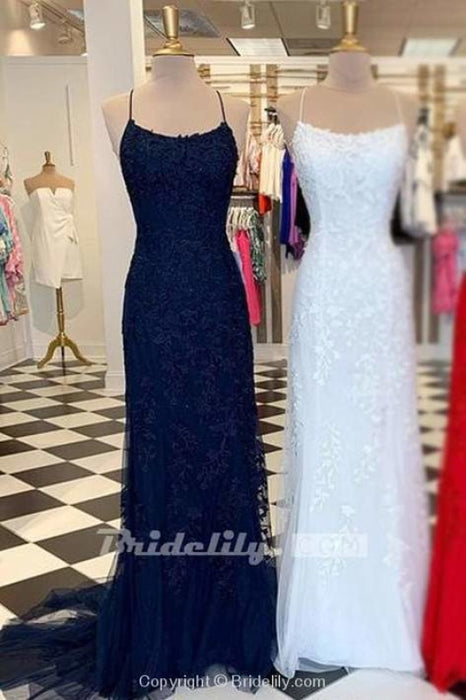 Light Blue Appliques Spaghetti Straps Lace-Up Mermaid Prom Dress - Dark Navy - Prom Dresses