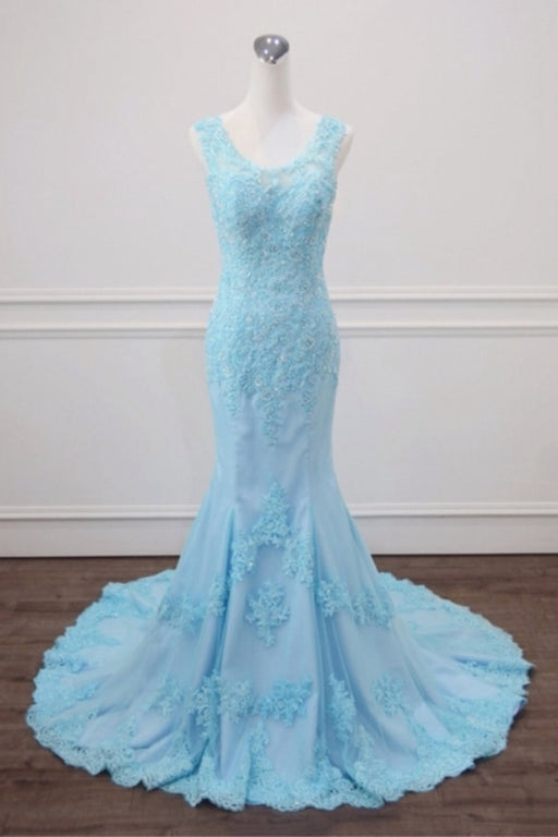 Light Blue Lace Beaded Mermaid Appliques Senior Prom Dress - Prom Dresses
