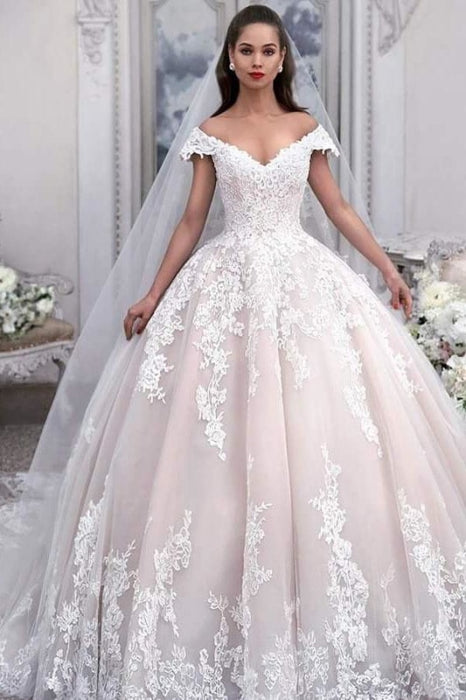 Light Pink Off the Shoulder Ball Gown Tulle with Appliques Wedding Dress - Wedding Dresses
