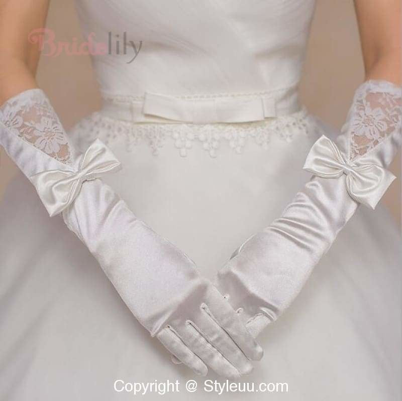 Long Design White Satin Bow Lace Wedding Gloves | Bridelily - wedding gloves