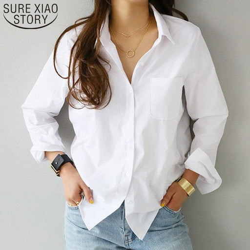 Long Sleeve Casual White Turn-down Women Loose Blouses - blouses