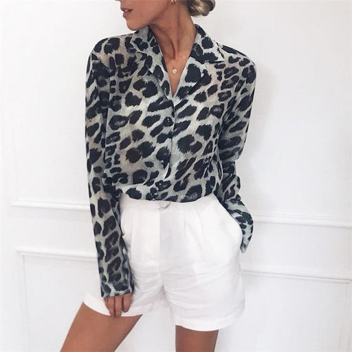 Long Sleeve Leopard Print Blouse Turn Down Collar Lady Office Shirt - blouses