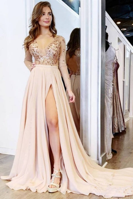 Long Sleeve Pretty V Neck Prom Elegant Split Evening Dresses - Prom Dresses