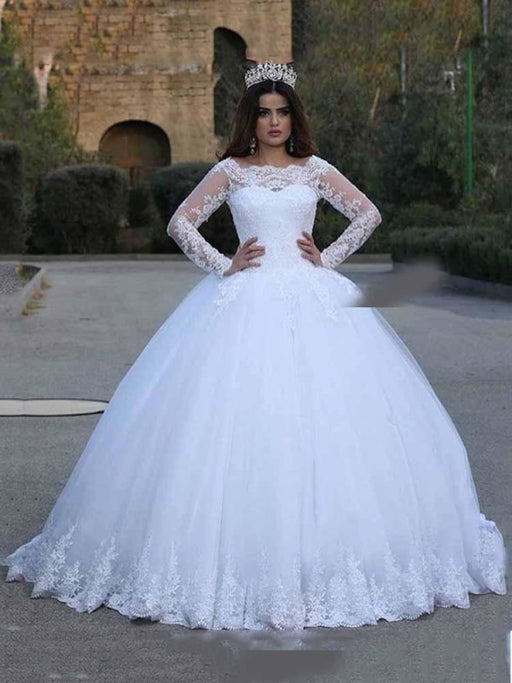Long Sleeves Lace Appliques Wedding Dresses - wedding dresses