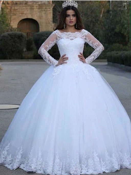 Long Sleeves Lace Appliques Wedding Dresses - White / Floor Length - wedding dresses