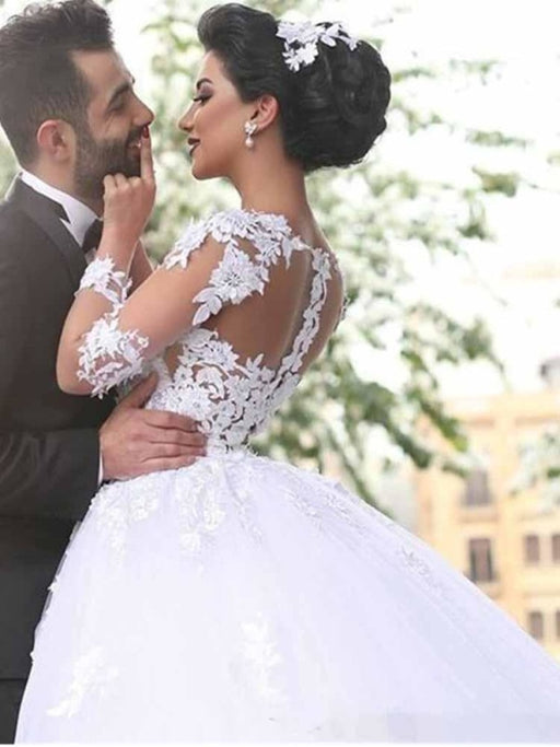 Long Sleeves Lace Ball Gown Wedding Dresses - wedding dresses