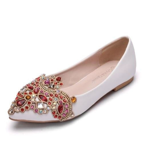 Low High Heels Lace Appliques Wedding Flats | Bridelily - white / 34 - wedding flats