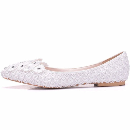 Low High Heels Lace Appliques Wedding Flats | Bridelily - wedding flats