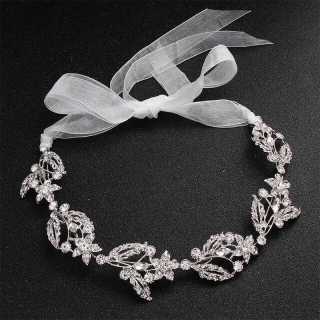 Luxurious Crystal Alloy Handmade Headbands | Bridelily - Silver - headbands