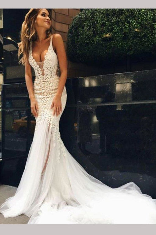 Luxurious Deep V-neck Tulle Mermaid Wedding Dress - Wedding Dresses