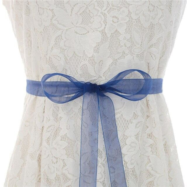 Luxurious Rhinestones Women Wedding Sashes | Bridelily - Organza dark blue / One Size - wedding sashes