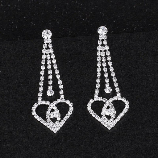 Luxury Crystal Silver Long Wedding Earrings | Bridelily - earrings