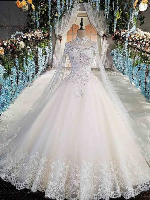 Luxury High Neck Lace Ball Gown Wedding Dresses - Ivory / Floor Length - wedding dresses