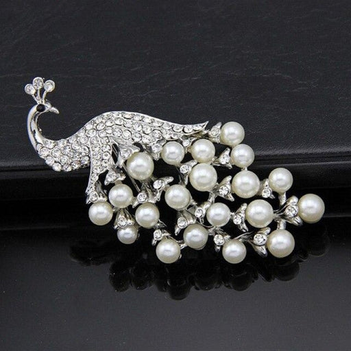 Luxury Pearl Crystal Handmade Wedding Brooches | Bridelily - silver - brooches