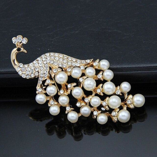 Luxury Pearl Crystal Handmade Wedding Brooches | Bridelily - gold - brooches
