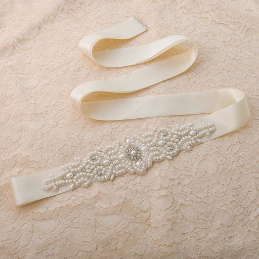 Luxury Pearls Handmade Belt Wedding Sashes | Bridelily - wedding sashes