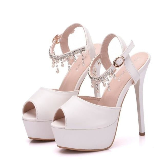 Luxury Platform High Heels Wedding Sandals | Bridelily - white / 34 - wedding sandals
