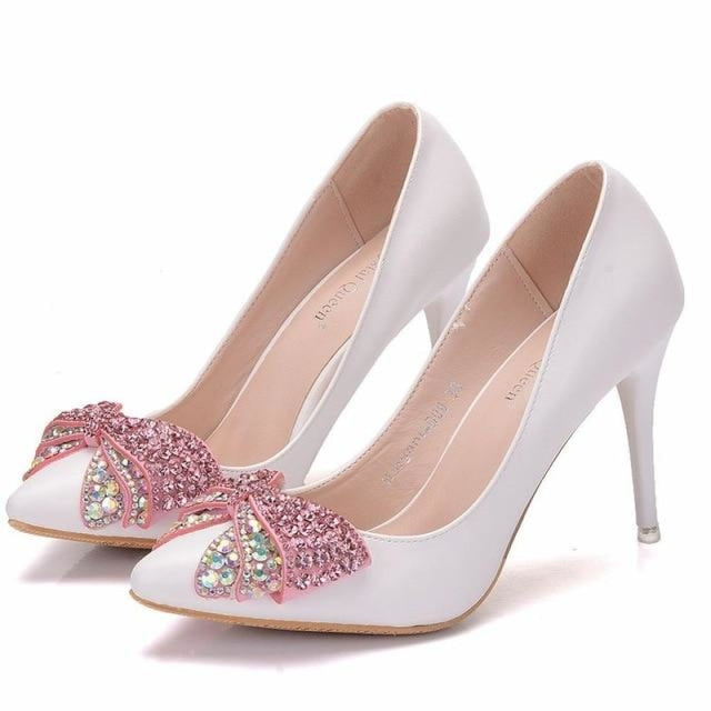 Luxury Rhinestone Bowknot Wedding Pumps | Bridelily - pink / 34 - wedding pumps