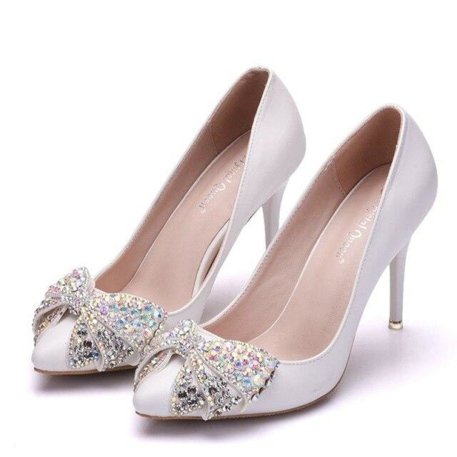 Luxury Rhinestone Bowknot Wedding Pumps | Bridelily - white / 34 - wedding pumps