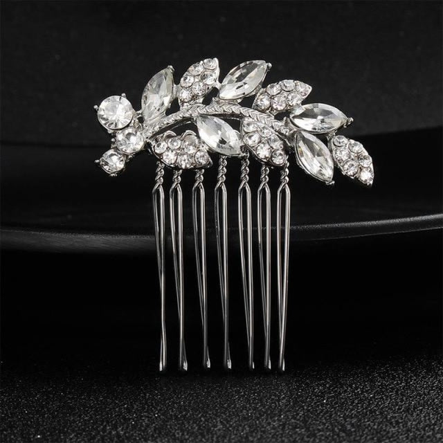 Luxury Rhinestone Handmade Flowers Combs & Barrettes | Bridelily - HS-J4375 Silver - combs and barrettes