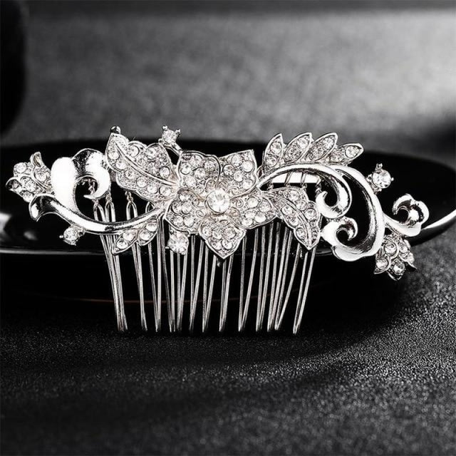 Luxury Rhinestone Handmade Flowers Combs & Barrettes | Bridelily - HS-J2728 Silver - combs and barrettes