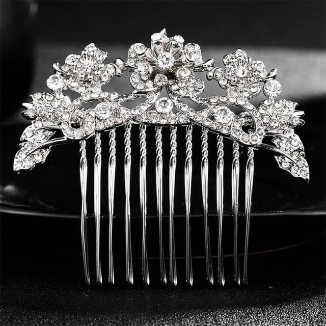Luxury Rhinestone Handmade Flowers Combs & Barrettes | Bridelily - HS-J3851 Silver - combs and barrettes