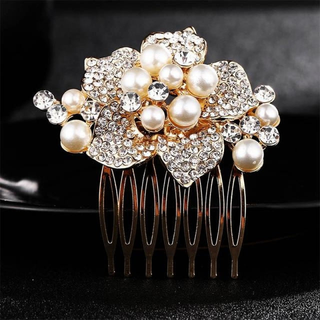 Luxury Rhinestone Handmade Flowers Combs & Barrettes | Bridelily - combs and barrettes