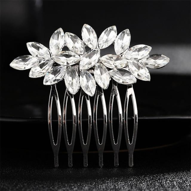 Luxury Rhinestone Handmade Flowers Combs & Barrettes | Bridelily - HS-J1873 Silver - combs and barrettes