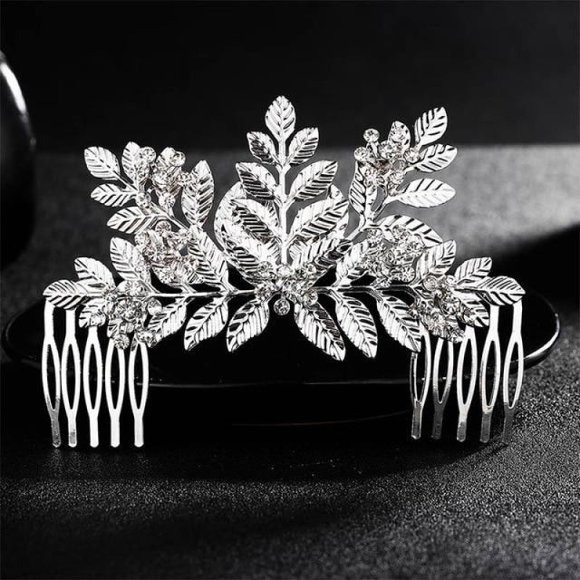 Luxury Rhinestone Handmade Flowers Combs & Barrettes | Bridelily - HS-J3794 Silver - combs and barrettes