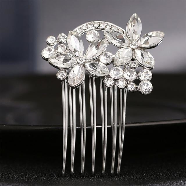 Luxury Rhinestone Handmade Flowers Combs & Barrettes | Bridelily - HS-J1901 Silver - combs and barrettes