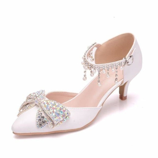 Luxury Rhinestone High Heels Wedding Sandals | Bridelily - white / 34 - wedding sandals