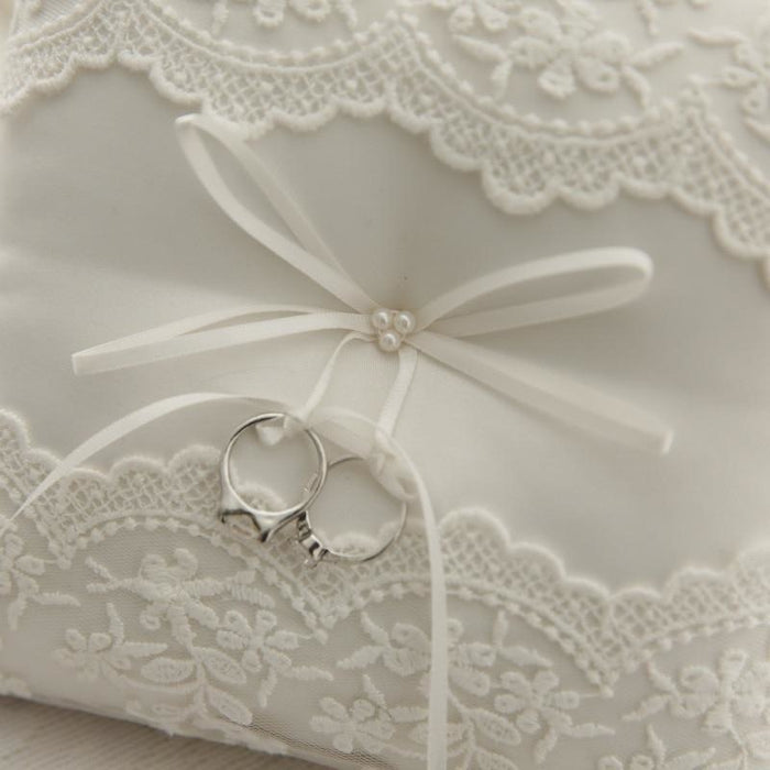 Lvory White Lace Flower Bowknot Satin Ring Pillows | Bridelily - ring pillows