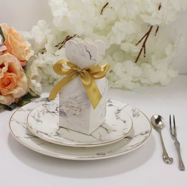 Marble Bomboniera Ribbon Bowknot Favor Holders | Bridelily - Gold / 20 PCS - favor holders