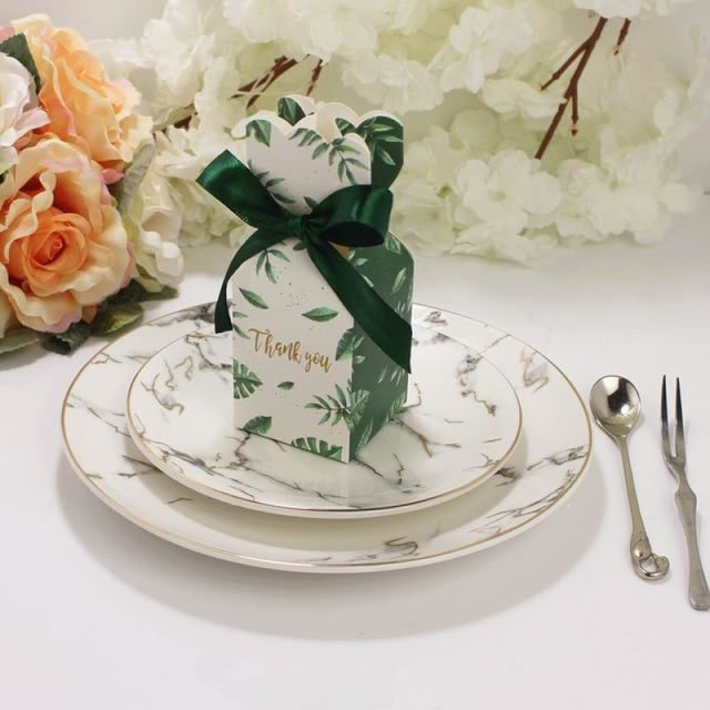 Marble Bomboniera Ribbon Bowknot Favor Holders | Bridelily - Green / 20 PCS - favor holders