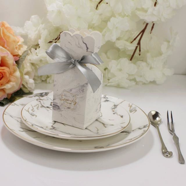 Marble Bomboniera Ribbon Bowknot Favor Holders | Bridelily - Silver / 20 PCS - favor holders