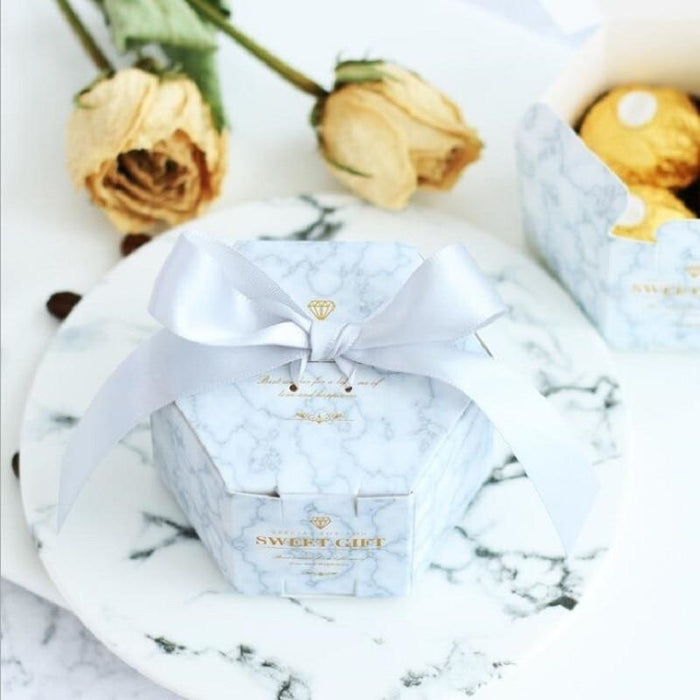Marble Hexagon Style Ribbon Bowknot Favor Holders | Bridelily - favor holders