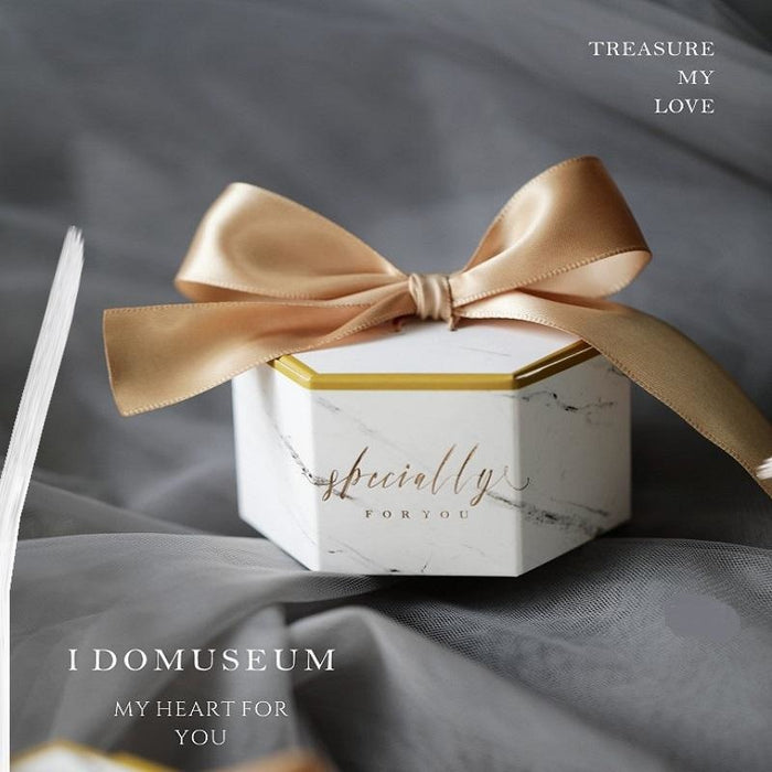 Marble Style Letter Ribbon Bowknot Favor Holders | Bridelily - Gold / 50PCS - favor holders