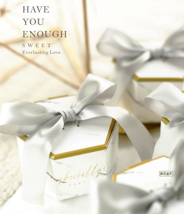 Marble Style Letter Ribbon Bowknot Favor Holders | Bridelily - Silver / 50PCS - favor holders