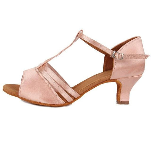 Medium EVA Buckle Low Heel Ballroom Dance Shoes | Bridelily - Pink 5cm / 6 - ballroom dance shoes