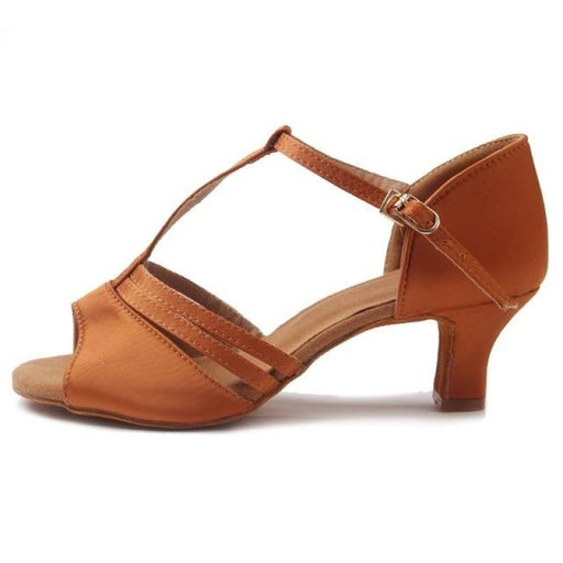 Medium EVA Buckle Low Heel Ballroom Dance Shoes | Bridelily - Brown 7cm / 6 - ballroom dance shoes